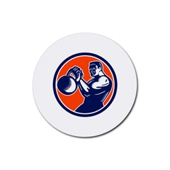 Bodybuilder Lifting Kettlebell Woodcut Drink Coaster (Round)