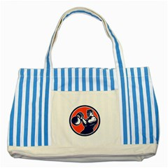 Bodybuilder Lifting Kettlebell Woodcut Blue Striped Tote Bag