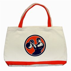 Bodybuilder Lifting Kettlebell Woodcut Classic Tote Bag (Red)
