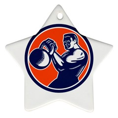 Bodybuilder Lifting Kettlebell Woodcut Star Ornament (Two Sides)