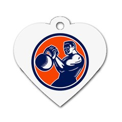 Bodybuilder Lifting Kettlebell Woodcut Dog Tag Heart (One Sided)