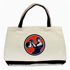 Bodybuilder Lifting Kettlebell Woodcut Twin-sided Black Tote Bag