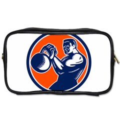 Bodybuilder Lifting Kettlebell Woodcut Travel Toiletry Bag (two Sides)