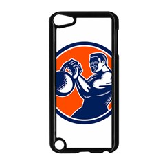 Bodybuilder Lifting Kettlebell Woodcut Apple iPod Touch 5 Case (Black)