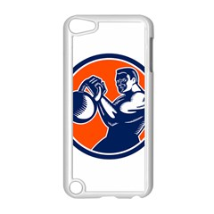 Bodybuilder Lifting Kettlebell Woodcut Apple iPod Touch 5 Case (White)