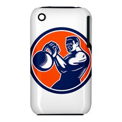 Bodybuilder Lifting Kettlebell Woodcut Apple iPhone 3G/3GS Hardshell Case (PC+Silicone)