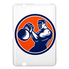 Bodybuilder Lifting Kettlebell Woodcut Kindle Fire HD 8.9  Hardshell Case