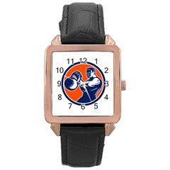 Bodybuilder Lifting Kettlebell Woodcut Rose Gold Leather Watch
