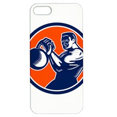 Bodybuilder Lifting Kettlebell Woodcut Apple Iphone 5 Hardshell Case With Stand