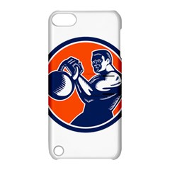 Bodybuilder Lifting Kettlebell Woodcut Apple Ipod Touch 5 Hardshell Case With Stand