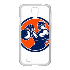 Bodybuilder Lifting Kettlebell Woodcut Samsung Galaxy S4 I9500/ I9505 Case (white)