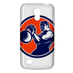 Bodybuilder Lifting Kettlebell Woodcut Samsung Galaxy S4 Mini (gt I9190) Hardshell Case