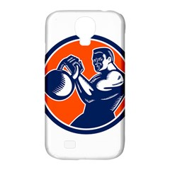 Bodybuilder Lifting Kettlebell Woodcut Samsung Galaxy S4 Classic Hardshell Case (PC+Silicone)