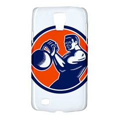 Bodybuilder Lifting Kettlebell Woodcut Samsung Galaxy S4 Active (i9295) Hardshell Case
