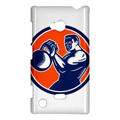 Bodybuilder Lifting Kettlebell Woodcut Nokia Lumia 720 Hardshell Case