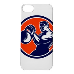 Bodybuilder Lifting Kettlebell Woodcut Apple iPhone 5S Hardshell Case
