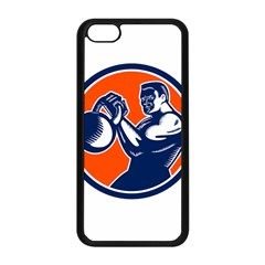 Bodybuilder Lifting Kettlebell Woodcut Apple iPhone 5C Seamless Case (Black)