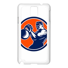 Bodybuilder Lifting Kettlebell Woodcut Samsung Galaxy Note 3 N9005 Case (White)