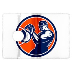 Bodybuilder Lifting Kettlebell Woodcut Kindle Fire HDX 7  Flip 360 Case
