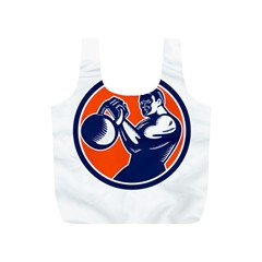 Bodybuilder Lifting Kettlebell Woodcut Reusable Bag (S)