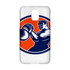 Bodybuilder Lifting Kettlebell Woodcut Samsung Galaxy S5 Hardshell Case