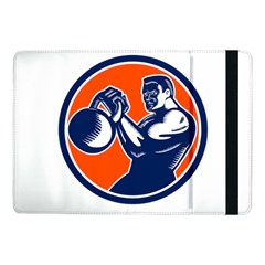 Bodybuilder Lifting Kettlebell Woodcut Samsung Galaxy Tab Pro 10.1  Flip Case