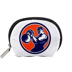 Bodybuilder Lifting Kettlebell Woodcut Accessory Pouch (Small)