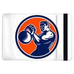 Bodybuilder Lifting Kettlebell Woodcut Apple iPad Air Flip Case