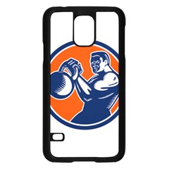 Bodybuilder Lifting Kettlebell Woodcut Samsung Galaxy S5 Case (Black)