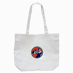 Bodybuilder Lifting Kettlebell Woodcut Tote Bag (White)