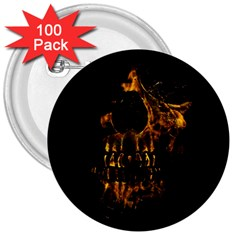 Skull Burning Digital Collage Illustration 3  Button (100 Pack)