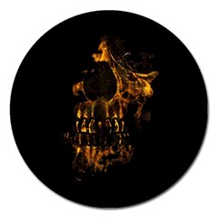 Skull Burning Digital Collage Illustration Magnet 5  (round)
