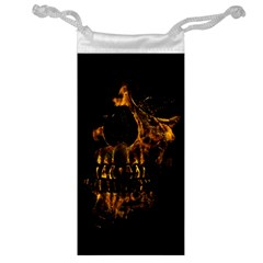 Skull Burning Digital Collage Illustration Jewelry Bag