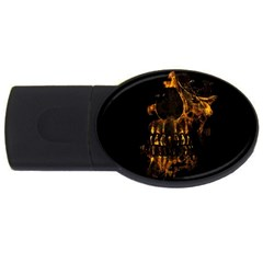 Skull Burning Digital Collage Illustration 4gb Usb Flash Drive (oval)