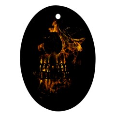 Skull Burning Digital Collage Illustration Oval Ornament (Two Sides)