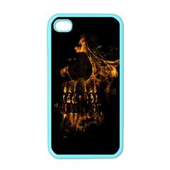 Skull Burning Digital Collage Illustration Apple Iphone 4 Case (color)