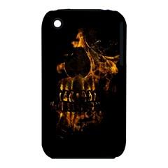 Skull Burning Digital Collage Illustration Apple iPhone 3G/3GS Hardshell Case (PC+Silicone)