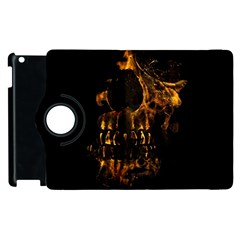 Skull Burning Digital Collage Illustration Apple iPad 3/4 Flip 360 Case