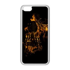 Skull Burning Digital Collage Illustration Apple iPhone 5C Seamless Case (White)