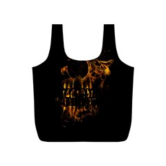 Skull Burning Digital Collage Illustration Reusable Bag (S)