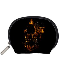Skull Burning Digital Collage Illustration Accessory Pouch (Small)