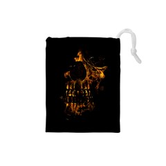 Skull Burning Digital Collage Illustration Drawstring Pouch (Small)