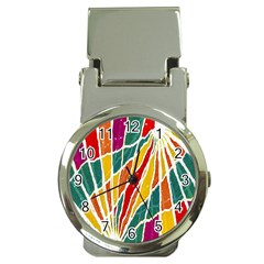 Multicolored Vibrations Money Clip With Watch