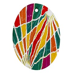 Multicolored Vibrations Oval Ornament (Two Sides)