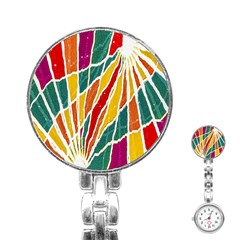Multicolored Vibrations Stainless Steel Nurses Watch