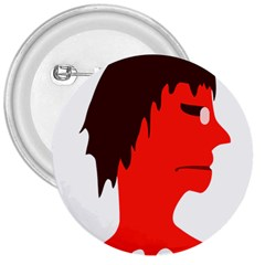 Monster with Men Head Illustration 3  Button
