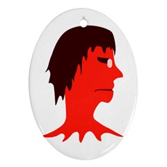 Monster with Men Head Illustration Oval Ornament