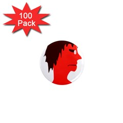 Monster with Men Head Illustration 1  Mini Button Magnet (100 pack)