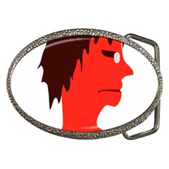 Monster With Men Head Illustration Belt Buckle (oval)