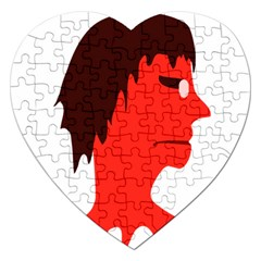 Monster with Men Head Illustration Jigsaw Puzzle (Heart)